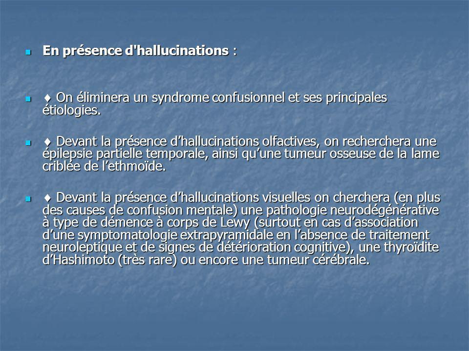 En présence d'hallucinations : En présence d'hallucinations : On éliminera un syndrome confusionnel et ses principales étiologies. On éliminera un syn