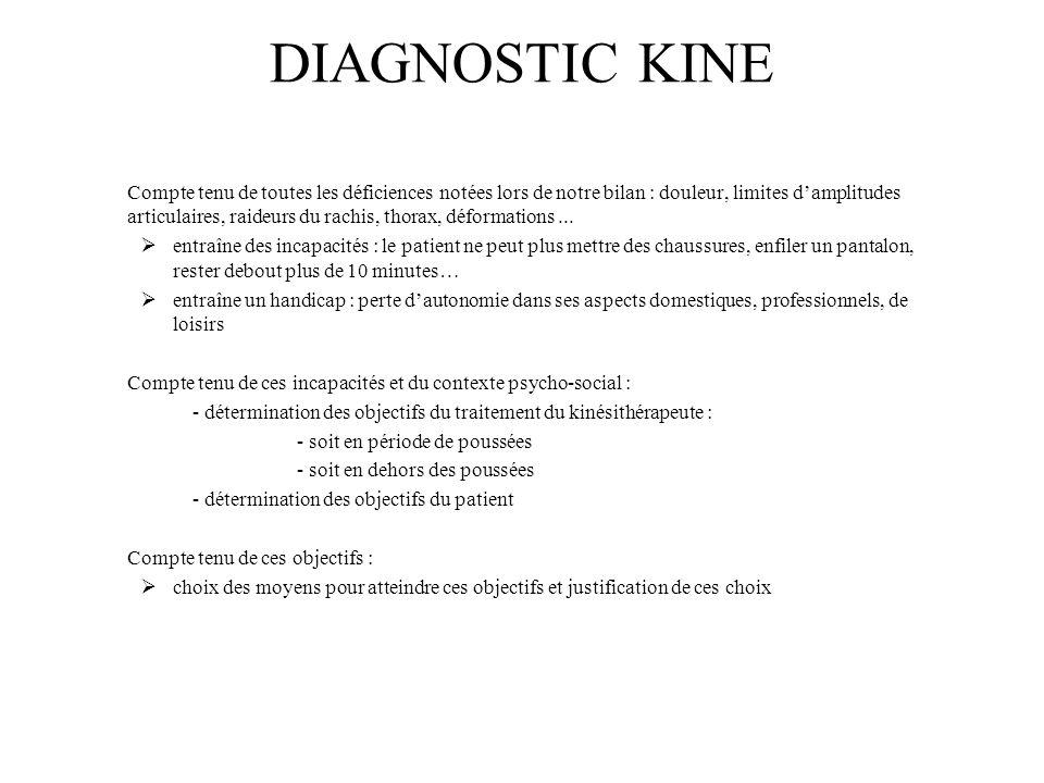 DIAGNOSTIC KINE Compte tenu de toutes les déficiences notées lors de notre bilan : douleur, limites damplitudes articulaires, raideurs du rachis, thorax, déformations...