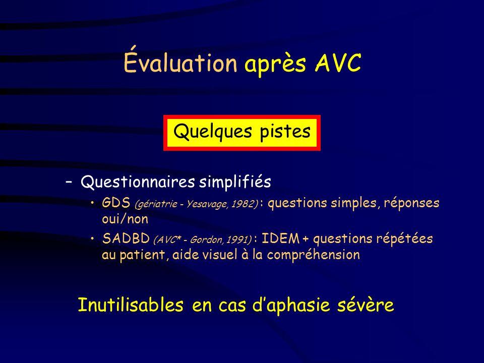 Évaluation après AVC –Troubles du langage / cognitifs réponses peu fiables, même en labsence de troubles du langage / de lattention (Toedter, 1995) –A