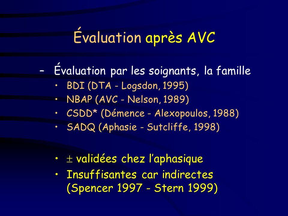 Évaluation après AVC Quelques pistes –Questionnaires simplifiés GDS (gériatrie - Yesavage, 1982) : questions simples, réponses oui/non SADBD (AVC* - G