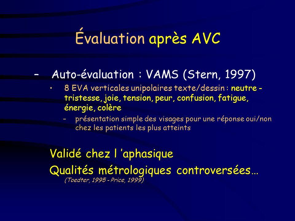 Évaluation après AVC –Évaluation par les soignants, la famille BDI (DTA - Logsdon, 1995) NBAP (AVC - Nelson, 1989) CSDD* (Démence - Alexopoulos, 1988)