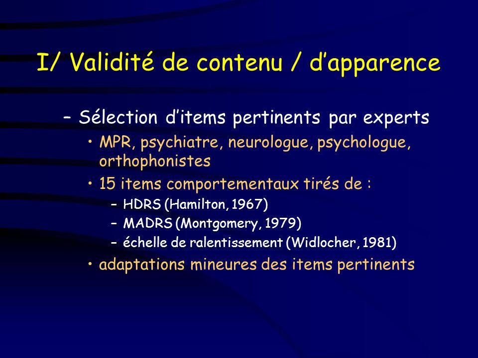 Méthode I/ Validité de contenu / d apparence –sélection ditems pertinents par experts II/ Propriétés métrologiques 50 patients –validité contre critèr