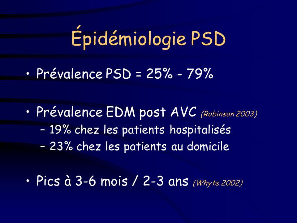 La dépression post-AVC (PSD) Troubles dépressifs –fréquents +++ –aggravent le pronostic cognitif et f el Évaluation et traitement difficiles