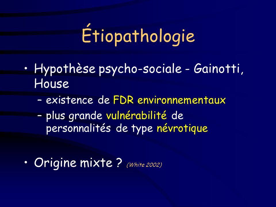 Étiopathologie Hypothèse biologique - suite... –survenue possible dans un contexte d anosognosie ou d infarctus silencieux (Starkstein 1992) –concept