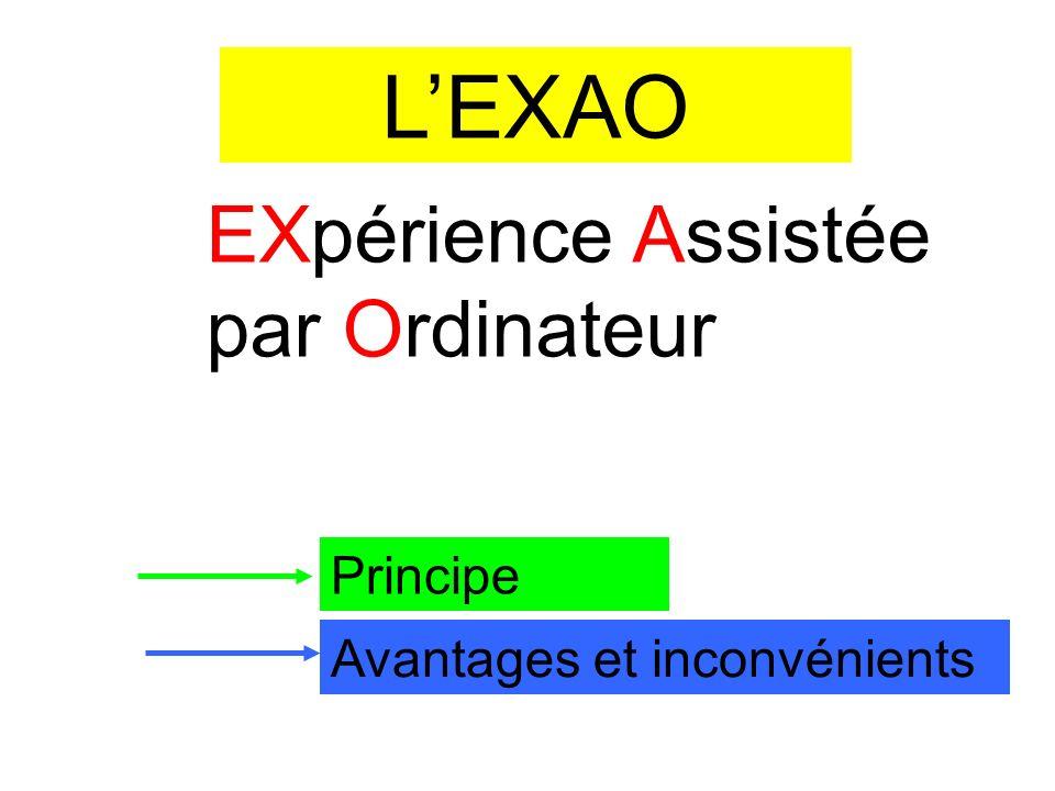 LEXAO EXpérience Assistée par Ordinateur Principe Avantages et inconvénients