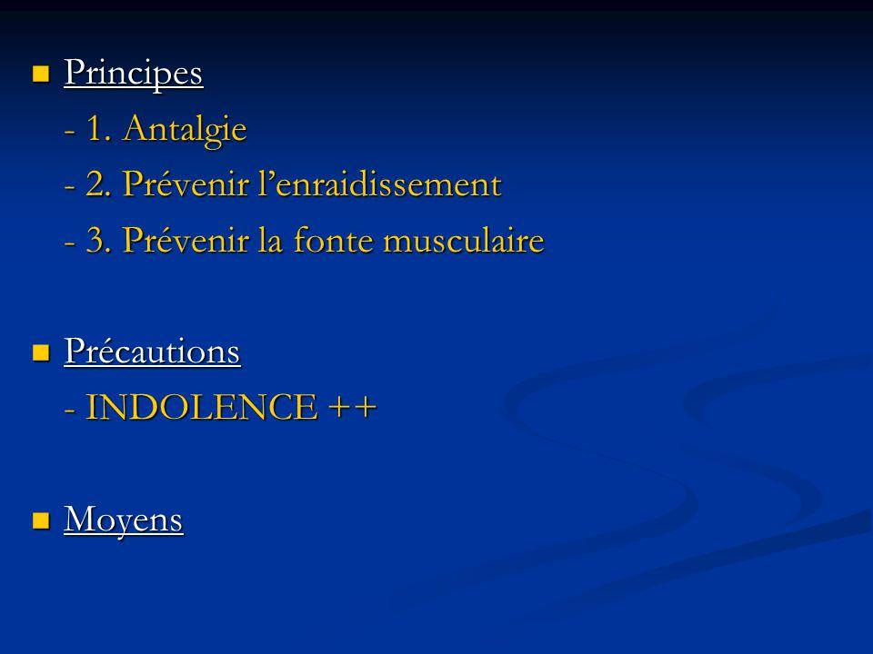Principes Principes - 1. Antalgie - 2. Prévenir lenraidissement - 3. Prévenir la fonte musculaire Précautions Précautions - INDOLENCE ++ Moyens Moyens