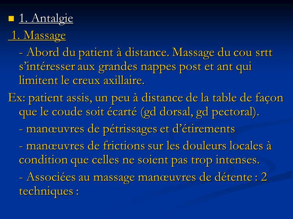 1. Antalgie 1. Antalgie 1. Massage 1. Massage - Abord du patient à distance. Massage du cou srtt sintéresser aux grandes nappes post et ant qui limite