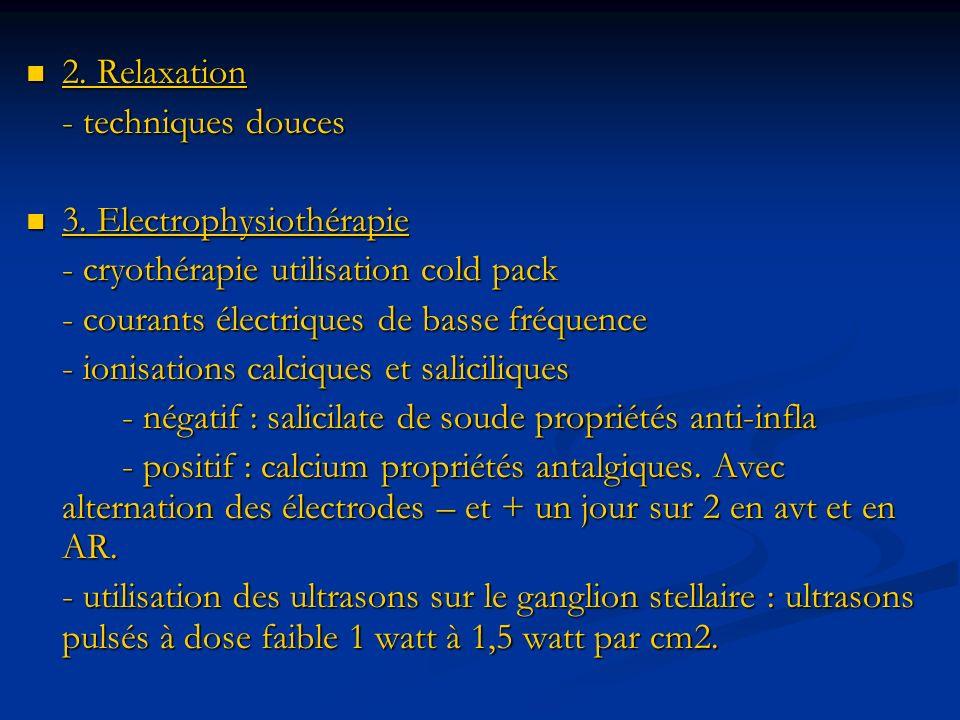 2. Relaxation 2. Relaxation - techniques douces 3. Electrophysiothérapie 3. Electrophysiothérapie - cryothérapie utilisation cold pack - courants élec
