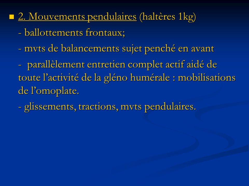 2. Mouvements pendulaires (haltères 1kg) 2. Mouvements pendulaires (haltères 1kg) - ballottements frontaux; - mvts de balancements sujet penché en ava