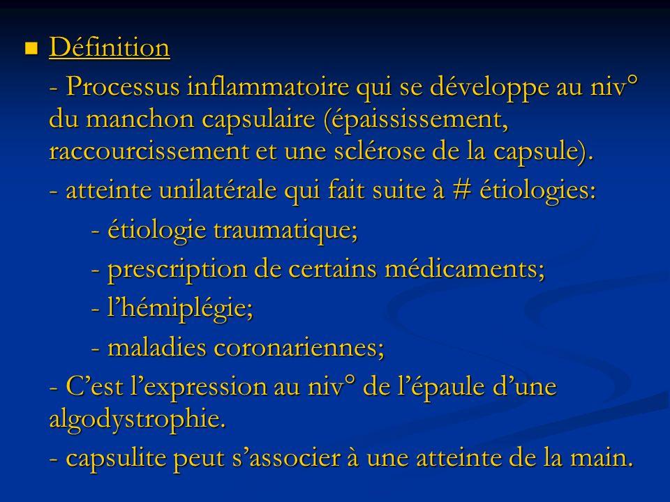 Définition Définition - Processus inflammatoire qui se développe au niv° du manchon capsulaire (épaississement, raccourcissement et une sclérose de la