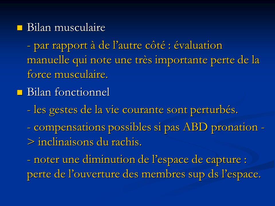 Bilan musculaire Bilan musculaire - par rapport à de lautre côté : évaluation manuelle qui note une très importante perte de la force musculaire. Bila
