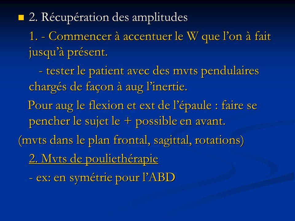 2. Récupération des amplitudes 2. Récupération des amplitudes 1. - Commencer à accentuer le W que lon à fait jusquà présent. - tester le patient avec