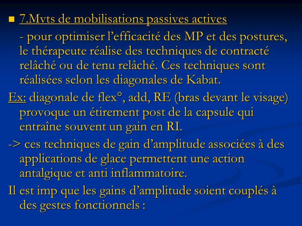 7.Mvts de mobilisations passives actives 7.Mvts de mobilisations passives actives - pour optimiser lefficacité des MP et des postures, le thérapeute r