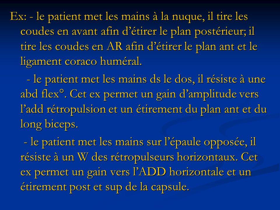 Ex: - le patient met les mains à la nuque, il tire les coudes en avant afin détirer le plan postérieur; il tire les coudes en AR afin détirer le plan
