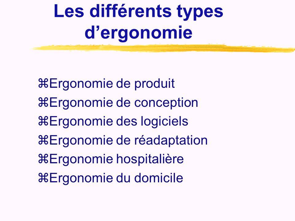 Les différents types dergonomie zErgonomie de produit zErgonomie de conception zErgonomie des logiciels zErgonomie de réadaptation zErgonomie hospital