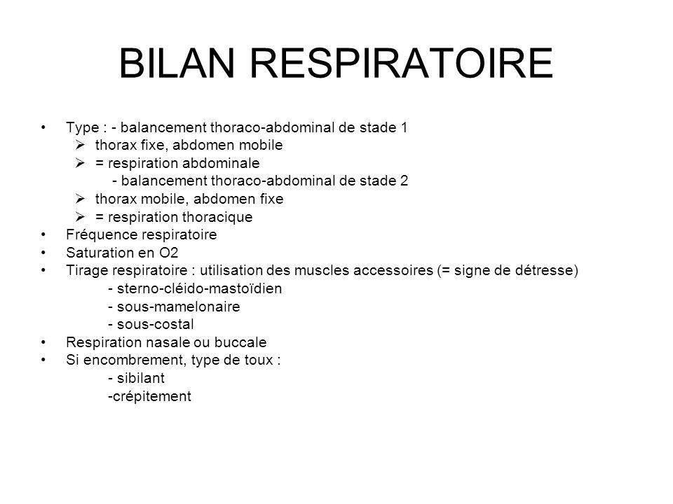 BILAN RESPIRATOIRE Type : - balancement thoraco-abdominal de stade 1 thorax fixe, abdomen mobile = respiration abdominale - balancement thoraco-abdomi