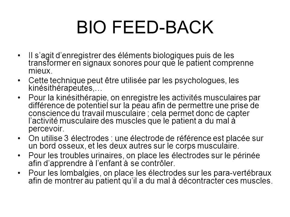 BIO FEED-BACK Il sagit denregistrer des éléments biologiques puis de les transformer en signaux sonores pour que le patient comprenne mieux. Cette tec