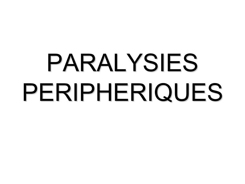 GENERALITES Définition Les paralysies périphériques sont aussi appelées « syndromes neurogènes périphériques », et se caractérisent par une paralysie flasque.