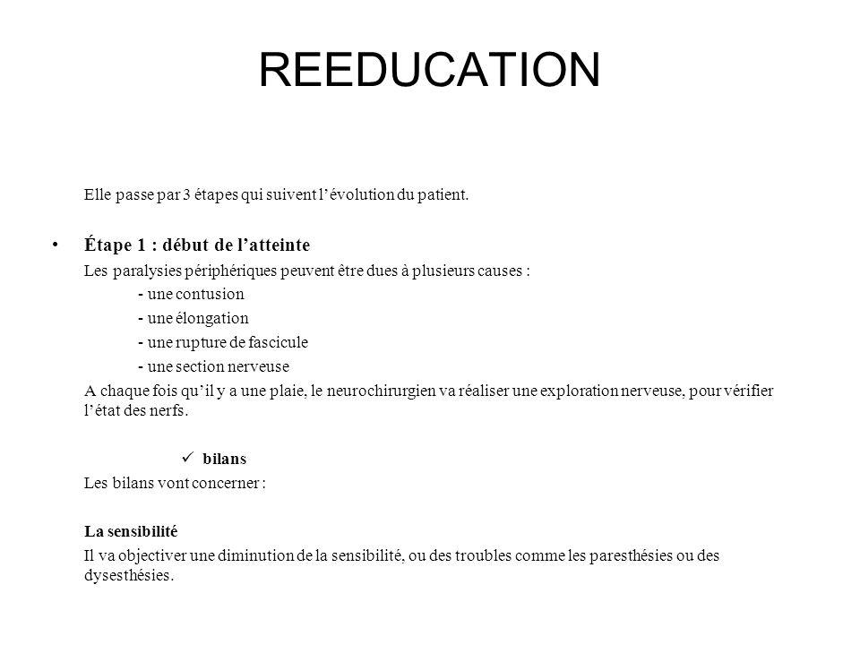 REEDUCATION Elle passe par 3 étapes qui suivent lévolution du patient. Étape 1 : début de latteinte Les paralysies périphériques peuvent être dues à p