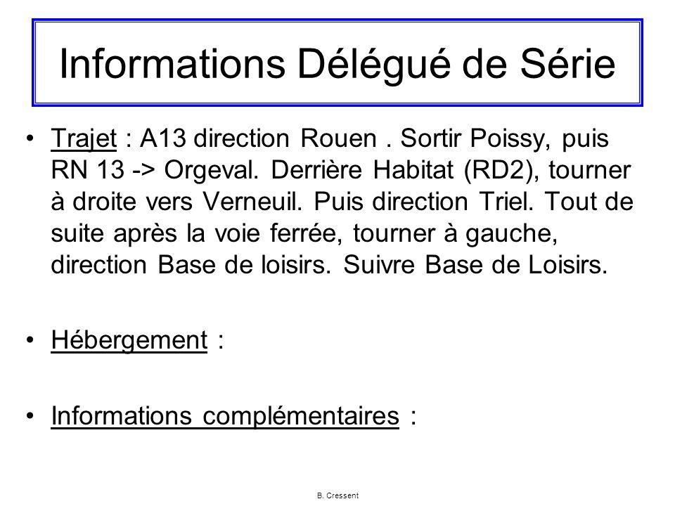 Informations Délégué de Série Trajet : A13 direction Rouen. Sortir Poissy, puis RN 13 -> Orgeval. Derrière Habitat (RD2), tourner à droite vers Verneu