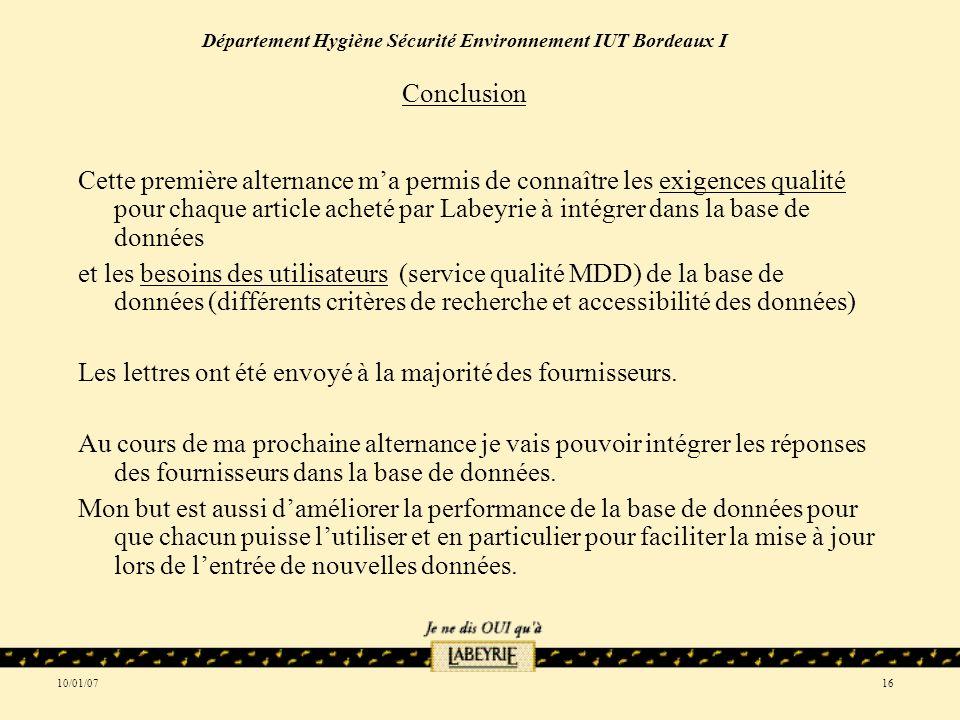 10/01/0716 Département Hygiène Sécurité Environnement IUT Bordeaux I Conclusion Cette première alternance ma permis de connaître les exigences qualité pour chaque article acheté par Labeyrie à intégrer dans la base de données et les besoins des utilisateurs (service qualité MDD) de la base de données (différents critères de recherche et accessibilité des données) Les lettres ont été envoyé à la majorité des fournisseurs.