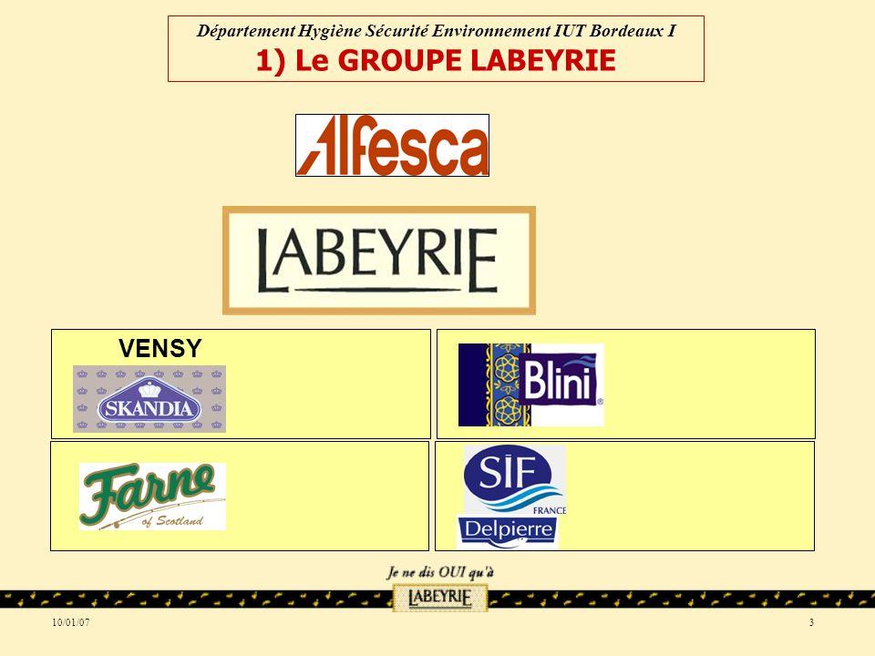 10/01/073 VENSY Département Hygiène Sécurité Environnement IUT Bordeaux I 1) Le GROUPE LABEYRIE