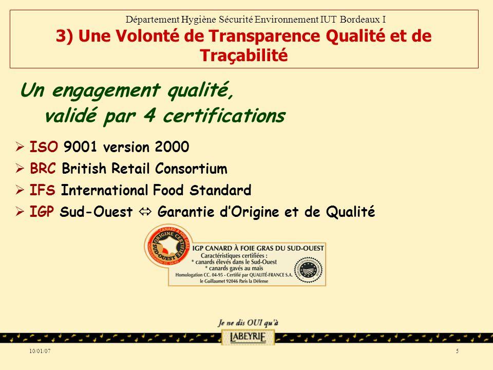 10/01/075 ISO 9001 version 2000 BRC British Retail Consortium IFS International Food Standard IGP Sud-Ouest Garantie dOrigine et de Qualité Un engagement qualité, validé par 4 certifications Département Hygiène Sécurité Environnement IUT Bordeaux I 3) Une Volonté de Transparence Qualité et de Traçabilité