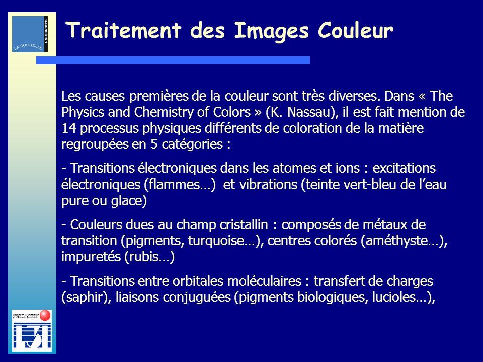 Laboratoire dInformatique et dImagerie Industrielle Traitement des Images Couleur Les causes premières de la couleur sont très diverses. Dans « The Ph