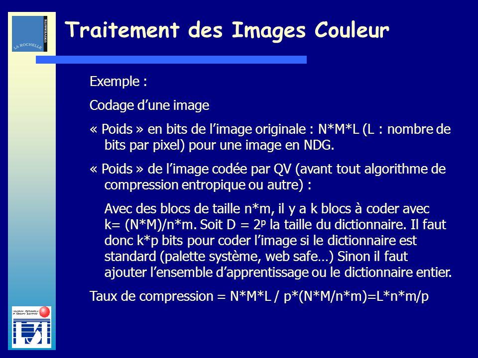 Laboratoire dInformatique et dImagerie Industrielle Traitement des Images Couleur Exemple : Codage dune image « Poids » en bits de limage originale :