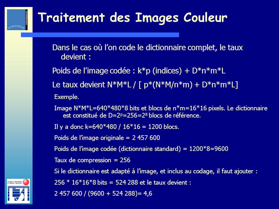Laboratoire dInformatique et dImagerie Industrielle Traitement des Images Couleur Dans le cas où lon code le dictionnaire complet, le taux devient : P