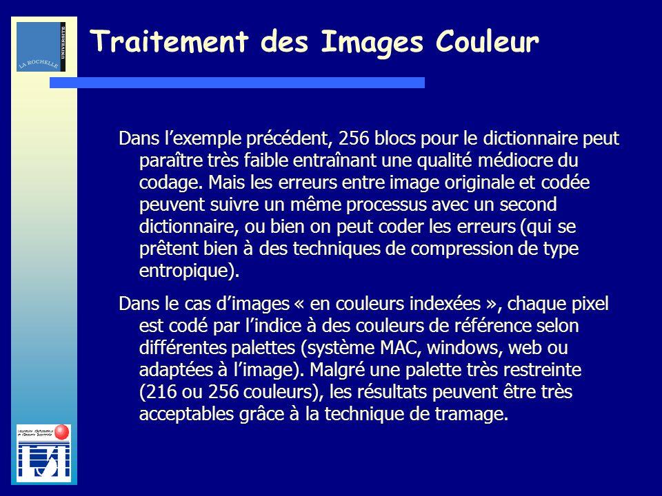 Laboratoire dInformatique et dImagerie Industrielle Traitement des Images Couleur Dans lexemple précédent, 256 blocs pour le dictionnaire peut paraîtr