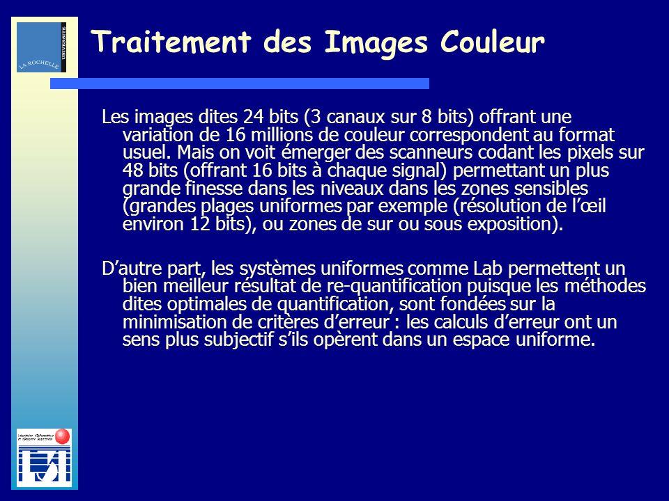 Laboratoire dInformatique et dImagerie Industrielle Traitement des Images Couleur Les images dites 24 bits (3 canaux sur 8 bits) offrant une variation