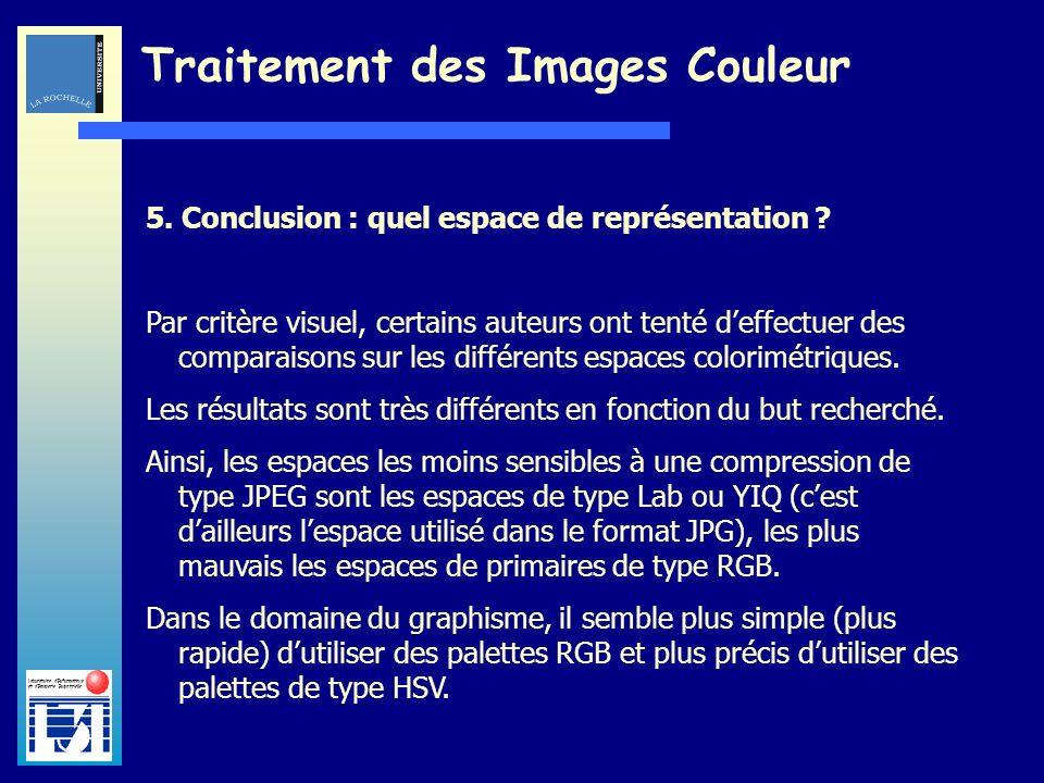 Laboratoire dInformatique et dImagerie Industrielle Traitement des Images Couleur 5. Conclusion : quel espace de représentation ? Par critère visuel,