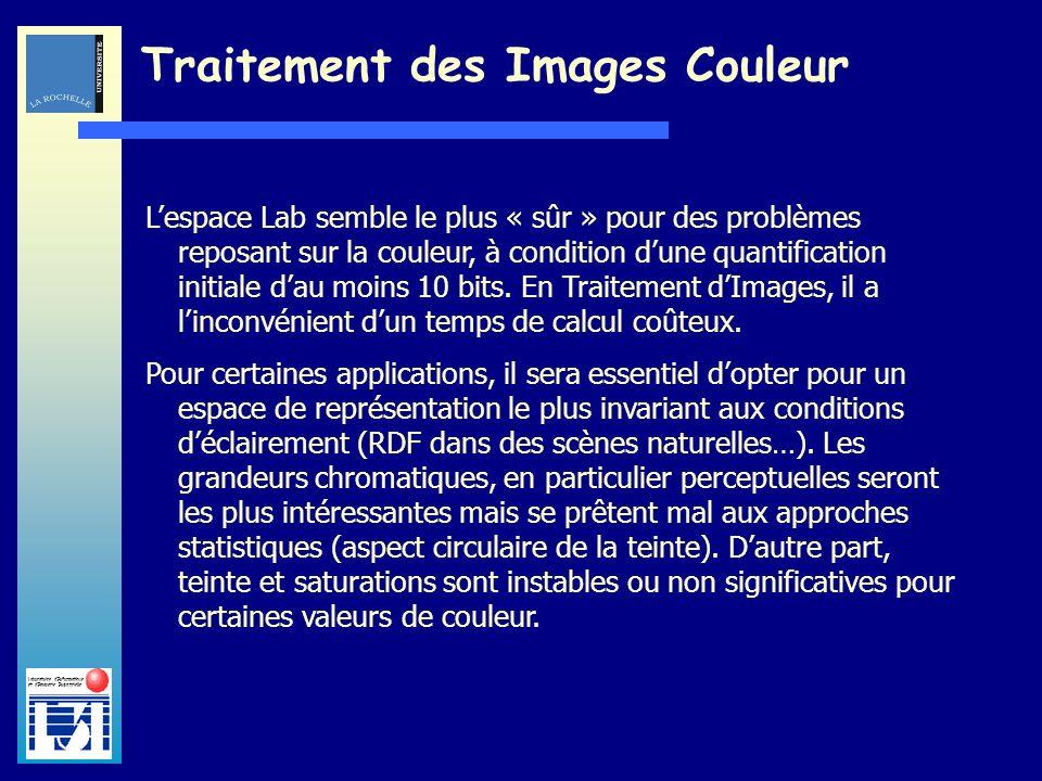 Laboratoire dInformatique et dImagerie Industrielle Traitement des Images Couleur Lespace Lab semble le plus « sûr » pour des problèmes reposant sur l