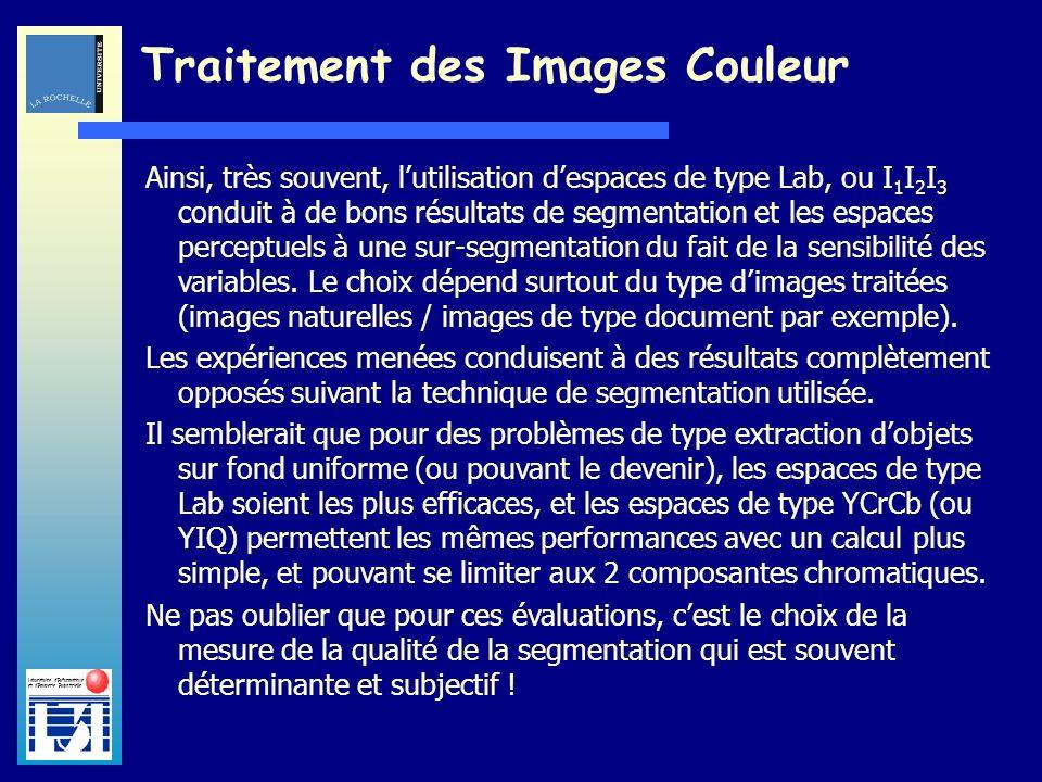Laboratoire dInformatique et dImagerie Industrielle Traitement des Images Couleur Ainsi, très souvent, lutilisation despaces de type Lab, ou I 1 I 2 I