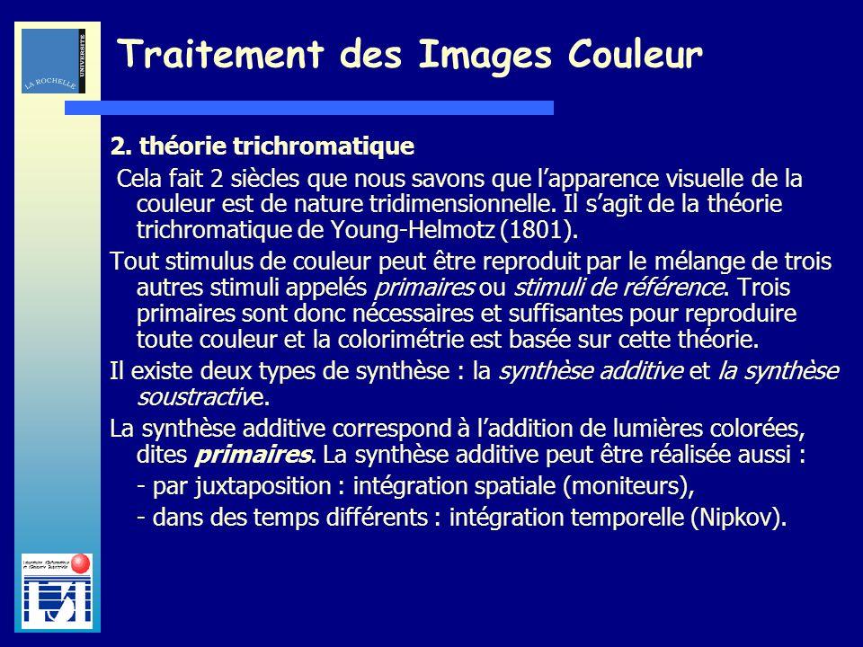 Laboratoire dInformatique et dImagerie Industrielle Traitement des Images Couleur 2. théorie trichromatique Cela fait 2 siècles que nous savons que la