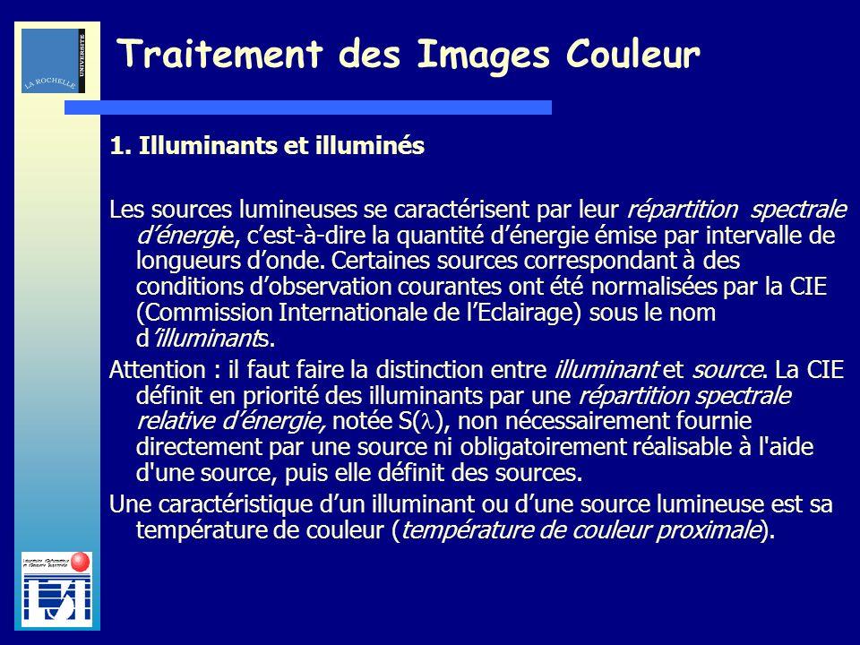 Laboratoire dInformatique et dImagerie Industrielle Traitement des Images Couleur 1. Illuminants et illuminés Les sources lumineuses se caractérisent