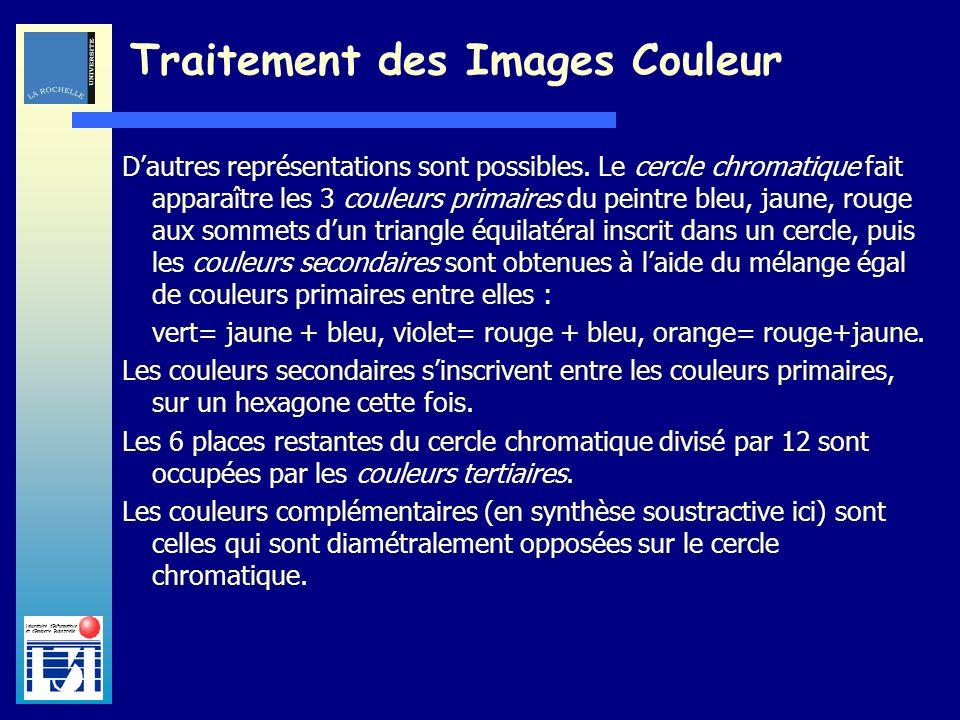 Laboratoire dInformatique et dImagerie Industrielle Traitement des Images Couleur Dautres représentations sont possibles. Le cercle chromatique fait a