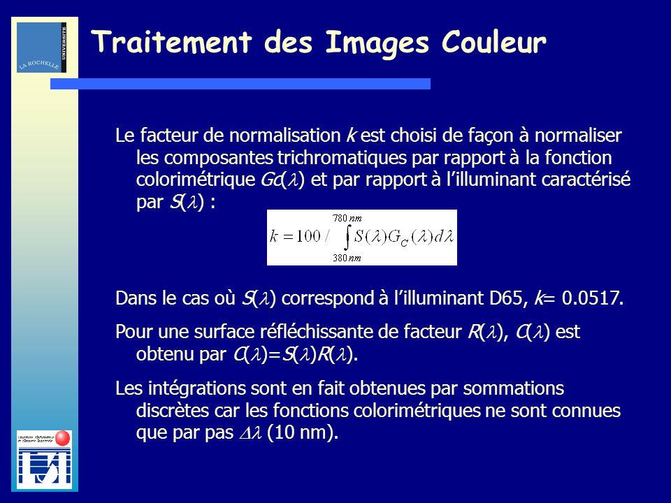 Laboratoire dInformatique et dImagerie Industrielle Traitement des Images Couleur Le facteur de normalisation k est choisi de façon à normaliser les c
