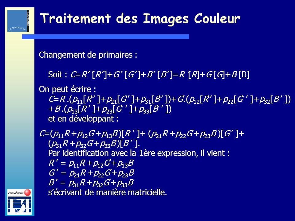 Laboratoire dInformatique et dImagerie Industrielle Traitement des Images Couleur Changement de primaires : Soit : C=R [R ]+G [G ]+B [B ]=R [R]+G [G]+