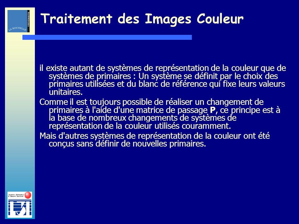 Laboratoire dInformatique et dImagerie Industrielle Traitement des Images Couleur il existe autant de systèmes de représentation de la couleur que de