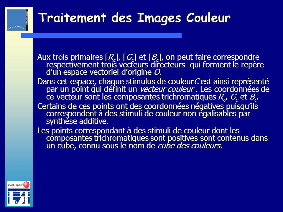 Laboratoire dInformatique et dImagerie Industrielle Traitement des Images Couleur Aux trois primaires [R c ], [G c ] et [B c ], on peut faire correspo