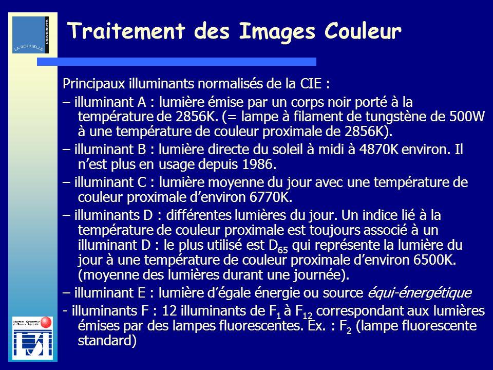Laboratoire dInformatique et dImagerie Industrielle Traitement des Images Couleur Principaux illuminants normalisés de la CIE : – illuminant A : lumiè