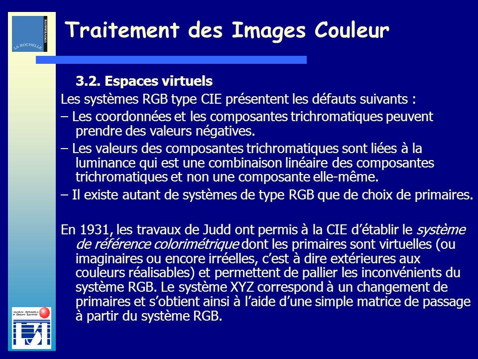Laboratoire dInformatique et dImagerie Industrielle Traitement des Images Couleur 3.2. Espaces virtuels Les systèmes RGB type CIE présentent les défau