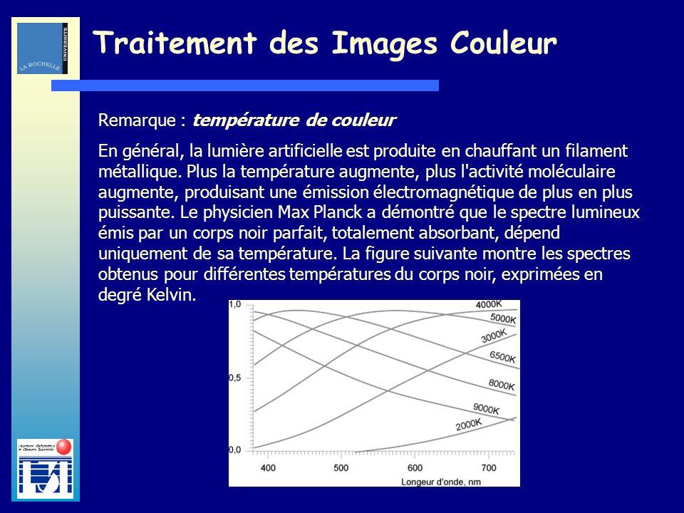 Laboratoire dInformatique et dImagerie Industrielle Traitement des Images Couleur Remarque : température de couleur En général, la lumière artificiell