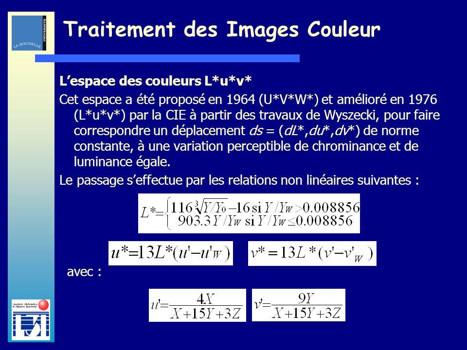 Laboratoire dInformatique et dImagerie Industrielle Traitement des Images Couleur Lespace des couleurs L*u*v* Cet espace a été proposé en 1964 (U*V*W*
