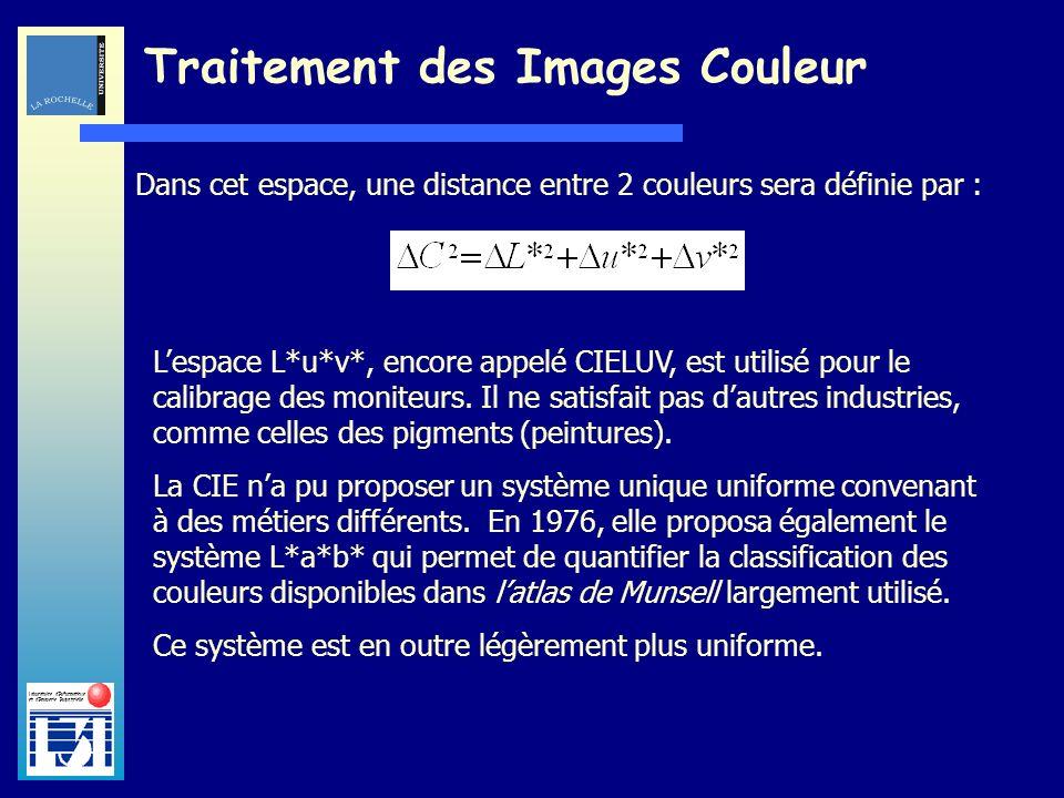Laboratoire dInformatique et dImagerie Industrielle Traitement des Images Couleur Dans cet espace, une distance entre 2 couleurs sera définie par : Le