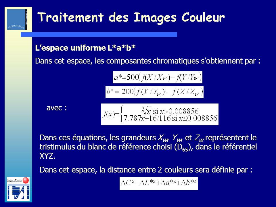 Laboratoire dInformatique et dImagerie Industrielle Traitement des Images Couleur Lespace uniforme L*a*b* Dans cet espace, les composantes chromatique