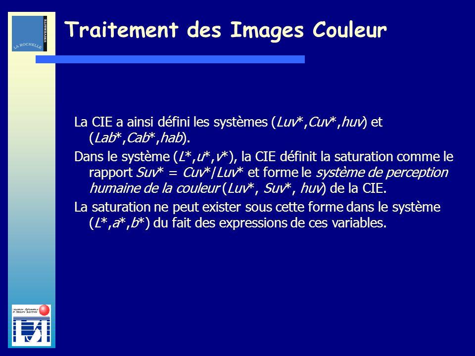 Laboratoire dInformatique et dImagerie Industrielle Traitement des Images Couleur La CIE a ainsi défini les systèmes (Luv*,Cuv*,huv) et (Lab*,Cab*,hab