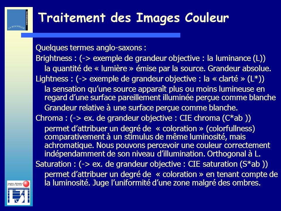 Laboratoire dInformatique et dImagerie Industrielle Traitement des Images Couleur Quelques termes anglo-saxons : Brightness : (-> exemple de grandeur